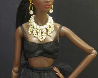 by GEMINI ~ OOAK doll jewelry set necklace accessories bijoux for FR2 Fashion Royalty Poppy Parker Nu Face Barbie Momoko Silkstone 1/6