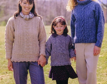 KNITTING Pattern (10 sizes) SWEATERS for *6 sizes for Women Petite to XX-Large & *4 sizes for Girls 2 to 8 - Kenyon Books Not a Pdf