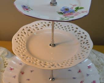 Spring Fling Vintage 3 Tier Cake Stand