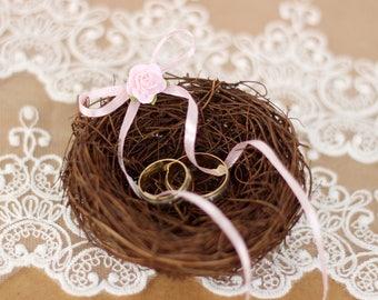 Bird's Nest Ring Bearer Alternative Rustic Wedding Ring Pillow Alternative Woodland Ring Holder Shabby Chic Ring Bearer Rustic Wedding