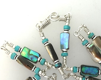 Necklace Abalone Turquoise and Sterling Silver