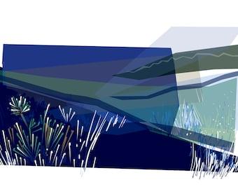 Art card (blank inside)  Title:  Edges Blue  Size A5 (21x15cm)