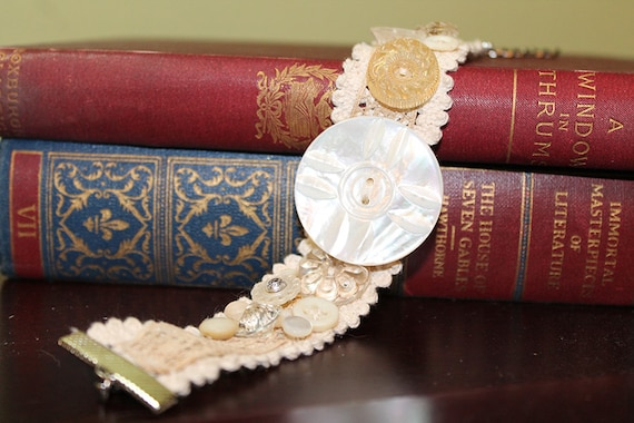 Vintage Inspired Lace Cuff Bracelet - Vintage Buttons - OOAK