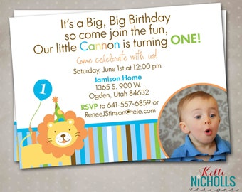 Sweet At One Boy's 1st Birthday Party Invitation with Photo, Custom Zoo First Birthday Inivite, Printable #B113-B