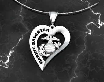 Marine Corps Marine Daughter Heart Pendant