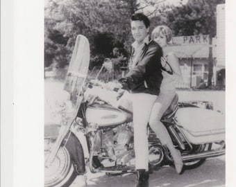 SPINOUT Photo Elvis Presley & Deborah Walley on Harley Electra Glide Motorcycle, Vintage Movie Promo  8x10 Black and White Pic