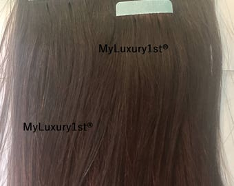 10 Pieces Medium Brown Remy Tape in Human Hair Extensions 22 Grams 15 inches Real Streaks Highlights Straight
