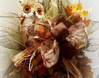 Fall Owl Wreath   Harvest Wreath   Thanksgiving Decor   Fall Wreath   Fall Decor   Owl Decor   Fall Wreath for Front Door   Autumn Wreath