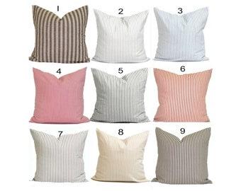 FARMHOUSE PILLOWS.Ticking Stripe Pillow Covers, French Ticking Decorative Pillow, Throw, Cushion,Euro Sham.French Country.Farmhouse Decor