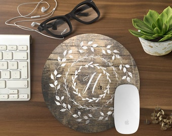 Personalized Mouse Pad, Mousepad Floral Rustic wood Mouse Mat Wreath Mouse Pad Office Mousemat Rectangular Personalize Mousepad Round T80985