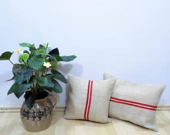 Authentic Grain Sack Pillow Cover / Antique linen/ Handwoven hemp fabric / Red Stripes / Handmade Pillow Sham - Christmas pillow