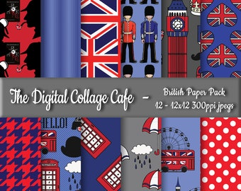 British Digital Paper Pack, London Digital Paper Pack, England Digital Paper Pack - DPP002 - 12 - 12x12in 300ppi JPEGs