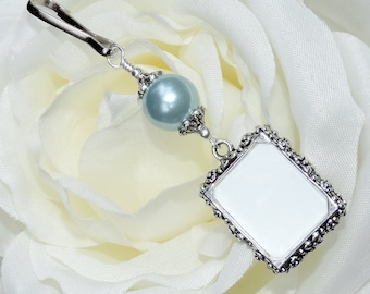 Wedding bouquet photo charm with Slate blue shell pearl and small picture frame. Something blue Bridal bouquet charm. Bridal shower gift