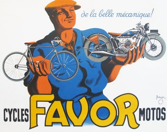 1930s French Vintage Bike Poster, Favor Cycles & Motos - Bellenger Bicycle and Motorcycle Gifts for Cyclists