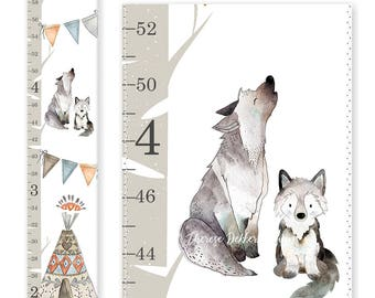 Woodland Nursery Decor, Woodland Growth Chart, Canvas Growth Chart, Tribal Chart, Gender Neutral Growth Chart, Baby Wolf Print, Height Chart