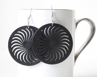 Buy 3 Get 1 FREE/Coal Black  Wind turbine Cut Earring  ,Naturally Beauty from Wood.