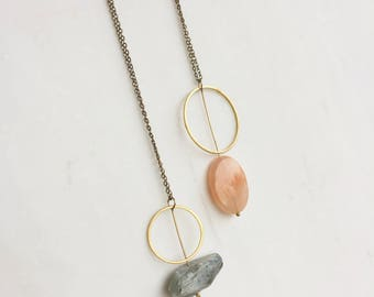 Gemstone and brass ring necklace, minimalist necklace, pastel necklace, pink stone, blue stone, gold ring, Mothers day, crystal necklace