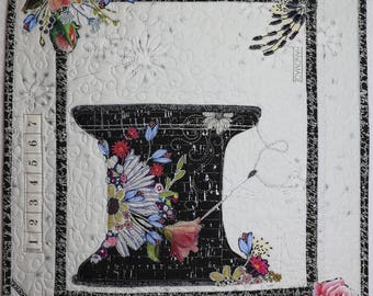 Collage Paper Quilt Pattern MINI THREAD SPOOL with Needle Notion Natural Pro-Touch Black Silver Cork Floral Rose Wall Hanging