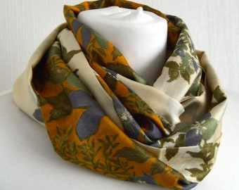 Yellow Ivory Infinity Scarf - Recycled Sari Scarf - Silk Infinity Scarf - Loop Scarf - Pure Silk Scarf - Womens Scarf - CMCISE0443