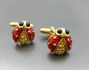 Lady Bug Cuff Links Bright Bugs for the Cuff Red Enamel in Gold one Unisex