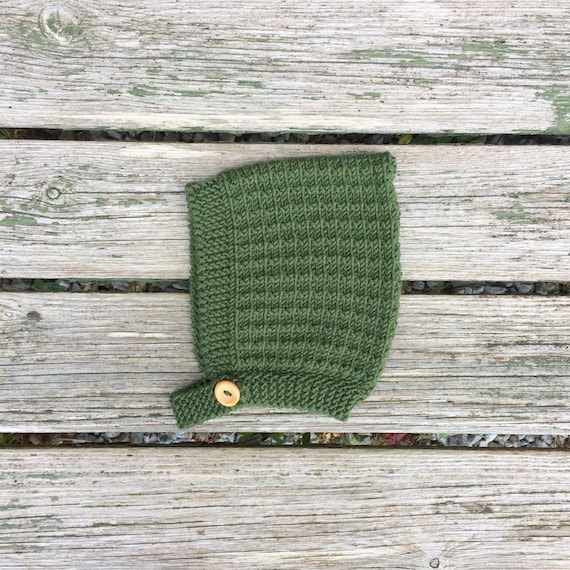 Pine Pixie Hat with Button Fastening - Moss Green - Made to Order