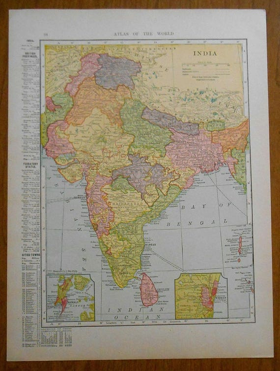 Vintage india palestine map 1907 dated antique map israel publicscrutiny Images