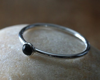 Black Onyx Stacking Ring, Sterling Silver Ring, Size 2 to 16, Onyx Ring, Black Gemstone Ring, Small Stacking Ring, Womens Jewelry, Solitaire