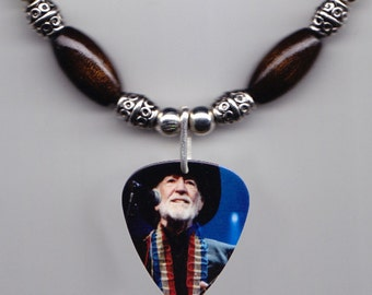 Willie Nelson Photo Guitar Pick Necklace