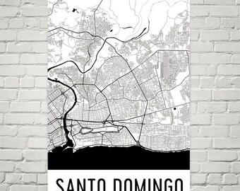 Santo Domingo Map, Santo Domingo Art, Santo Domingo Print, Santo Domingo Dominican Republic Poster, Santo Domingo Wall Art, Poster, Gift