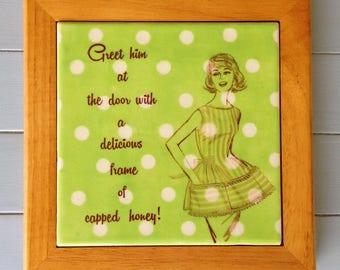 Ceramic tile, beekeeper tile, 1950s housewife, housewife tile, ceramic trivet, honeybee trivet, Mad Men trivet