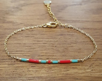 Turquoise/red wave bracelet