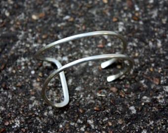 Sterling Silver Cuff Bracelet - Asymmetrical Cuff - Double Open Cuff Bracelet - Modern Silver Jewelry - Hammered Tail Cuff - Two Feathers