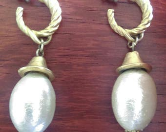 "Faux Pearl 1 3/4"" Drop Costume Jewelry Pierced Earrings - Vintage"