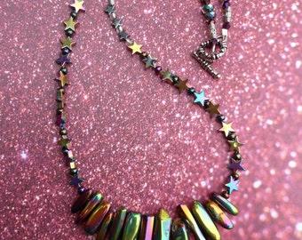 Cosmic Radiance - Rainbow Iridescent Necklace