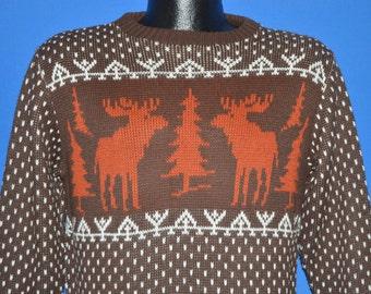 70s Brown Moose Snowflake Sweater Medium