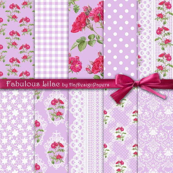 Shabby chic digital paper fabulous lilac floral digital paper shabby chic digital paper fabulous lilac floral digital paper with purple pink roses on lilac background decoupage paper lace paper from mightylinksfo