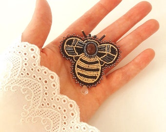 Large Bumble Bee Gemstone Beaded Embroidered Brooch Pin