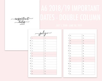 A6 RINGS Important Dates Double Column 2018/2019 (Jul-Jun) PINK