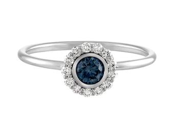Halo Set Ring, Round Brilliant Cut Lab Grown BLUE Diamond Halo Engagement Ring, White Gold Thin Dainty Bezel Set Halo Engagement Ring