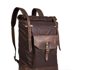 Waxed canvas leather backpack mens, roll top canvas leather backpack for laptop, in dark brown. Rolltop waxed cotton leather rucksack