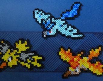 Pokemon Articuno Zapdos Moltres Legendary Birds Pokemon Go Team Mystic Team Valor Team Instinct Perler Sprite/Keychain/Magnet