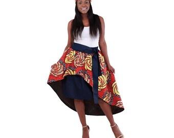 Africa Denim Hi-Lo Skirt: Red