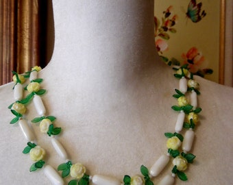 Vintage 1960s Necklace  Yellow Molded Yellow Celluloid Rosettes and Green Semi Translucent Leaves Garden Party Jewlery