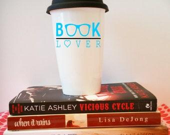 "Ceramic Travel Mug - ""Book Lover"""