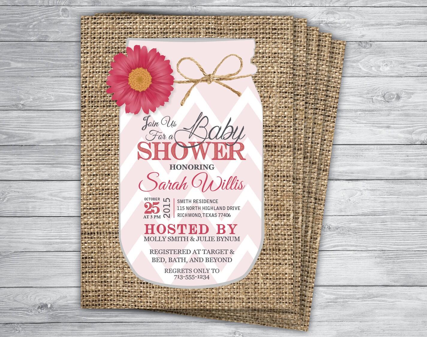 Any Event/Color MASON JAR BURLAP Pink Lemonade Baby Shower