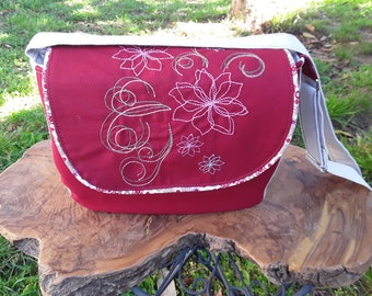 Hobo, shoulder bag, wallet, embroidered, large embroidered flower on the flap, red, beige cotton canvas, Bohemian bag, woman handbag