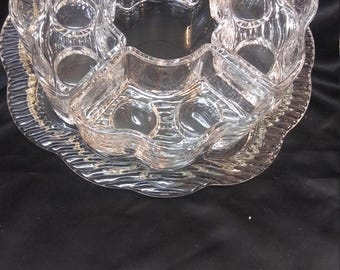 New Lead Crystal Party Lite Candle & Snack Center Piece