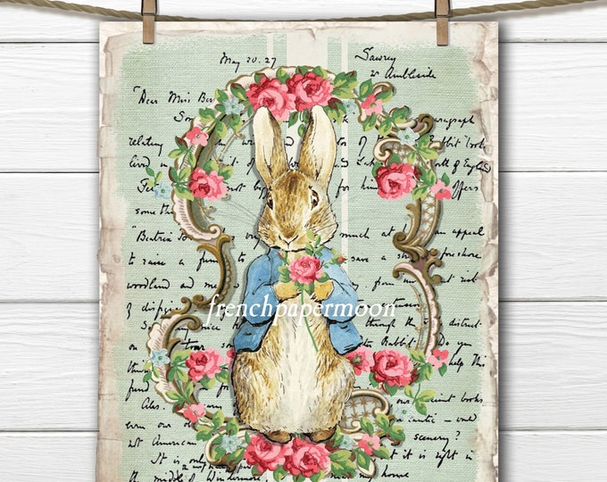 Digital Shabby Peter Rabbit, Peter rabbit Printable, Nursery Decor, Pillow Image, Large Size Graphic Transfer