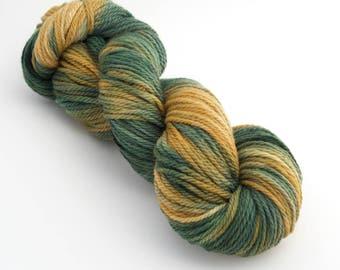 Green 'n' Gold - 3/4 Skein - Worsted Holistic Merino Hand Painted Yarn