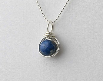 Lapis Lazuli Gemstone Necklace, Blue Lapis Lazuli Pendant, Sterling Silver, Gemstone Pendant Necklace, Wire Wrapped Lapis, Gift for Her